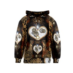 Steampunk, Awesome Heart With Clocks And Gears Kid s Pullover Hoodies
