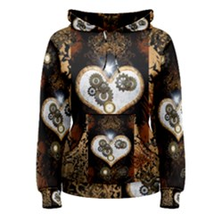 Steampunk, Awesome Heart With Clocks And Gears Women s Pullover Hoodies