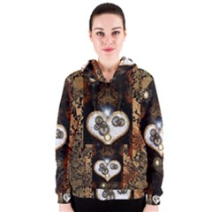 Steampunk, Awesome Heart With Clocks And Gears Women s Zipper Hoodies