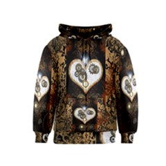 Steampunk, Awesome Heart With Clocks And Gears Kids Zipper Hoodies