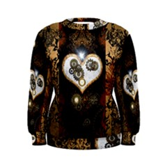 Steampunk, Awesome Heart With Clocks And Gears Women s Sweatshirts