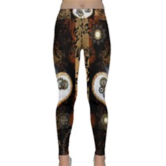 Steampunk, Awesome Heart With Clocks And Gears Yoga Leggings