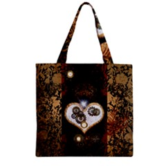 Steampunk, Awesome Heart With Clocks And Gears Zipper Grocery Tote Bags