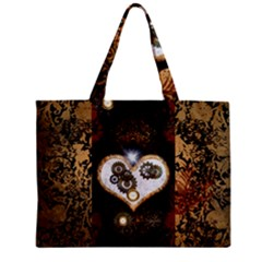 Steampunk, Awesome Heart With Clocks And Gears Zipper Tiny Tote Bags