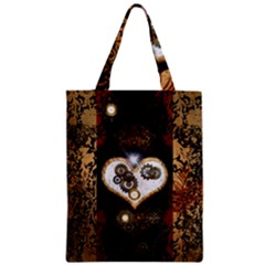 Steampunk, Awesome Heart With Clocks And Gears Zipper Classic Tote Bags
