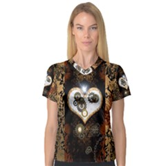 Steampunk, Awesome Heart With Clocks And Gears Women s V-Neck Sport Mesh Tee