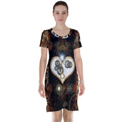 Steampunk, Awesome Heart With Clocks And Gears Short Sleeve Nightdresses