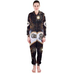 Steampunk, Awesome Heart With Clocks And Gears Hooded Jumpsuit (Ladies)