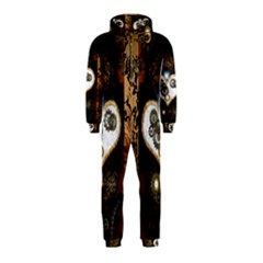 Steampunk, Awesome Heart With Clocks And Gears Hooded Jumpsuit (Kids)