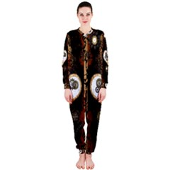Steampunk, Awesome Heart With Clocks And Gears OnePiece Jumpsuit (Ladies)