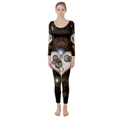 Steampunk, Awesome Heart With Clocks And Gears Long Sleeve Catsuit