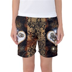 Steampunk, Awesome Heart With Clocks And Gears Women s Basketball Shorts