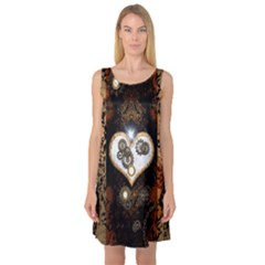 Steampunk, Awesome Heart With Clocks And Gears Sleeveless Satin Nightdresses