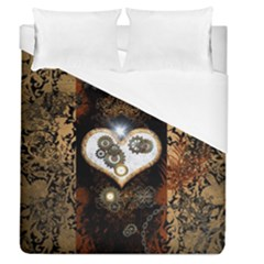 Steampunk, Awesome Heart With Clocks And Gears Duvet Cover Single Side (full/queen Size)