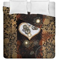 Steampunk, Awesome Heart With Clocks And Gears Duvet Cover (king Size)