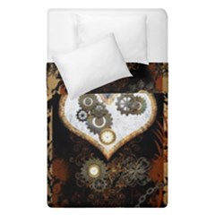 Steampunk, Awesome Heart With Clocks And Gears Duvet Cover (single Size)