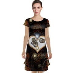 Steampunk, Awesome Heart With Clocks And Gears Cap Sleeve Nightdresses