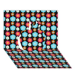 Colorful Floral Pattern Apple 3d Greeting Card (7x5)