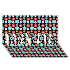 Colorful Floral Pattern BEST SIS 3D Greeting Card (8x4)