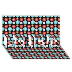 Colorful Floral Pattern Believe 3d Greeting Card (8x4)