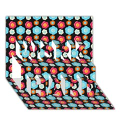 Colorful Floral Pattern WORK HARD 3D Greeting Card (7x5)