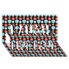 Colorful Floral Pattern Laugh Live Love 3D Greeting Card (8x4)