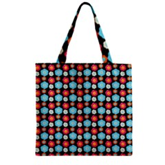 Colorful Floral Pattern Zipper Grocery Tote Bags