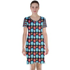 Colorful Floral Pattern Short Sleeve Nightdresses