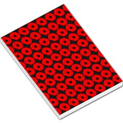 Charcoal And Red Peony Flower Pattern Large Memo Pads