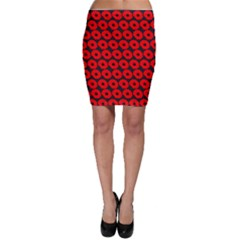 Charcoal And Red Peony Flower Pattern Bodycon Skirts