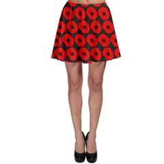 Charcoal And Red Peony Flower Pattern Skater Skirts