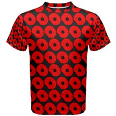 Charcoal And Red Peony Flower Pattern Men s Cotton Tees