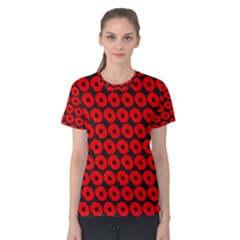 Charcoal And Red Peony Flower Pattern Women s Cotton Tees