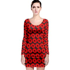 Charcoal And Red Peony Flower Pattern Long Sleeve Bodycon Dresses