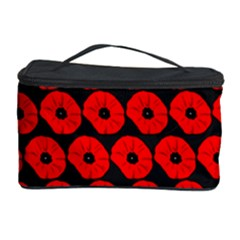 Charcoal And Red Peony Flower Pattern Cosmetic Storage Cases