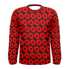 Charcoal And Red Peony Flower Pattern Men s Long Sleeve T-shirts