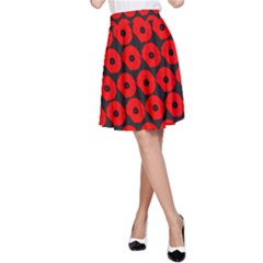 Charcoal And Red Peony Flower Pattern A Line Skirts