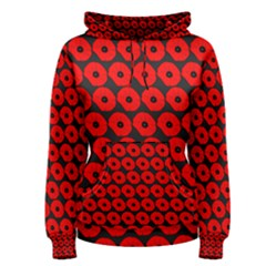 Charcoal And Red Peony Flower Pattern Women s Pullover Hoodies