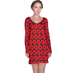 Charcoal And Red Peony Flower Pattern Long Sleeve Nightdresses