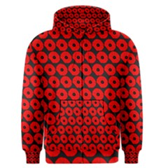 Charcoal And Red Peony Flower Pattern Men s Zipper Hoodies