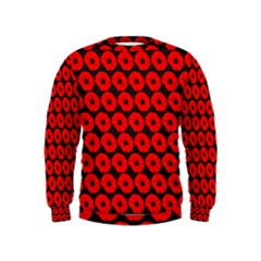 Charcoal And Red Peony Flower Pattern Boys  Sweatshirts