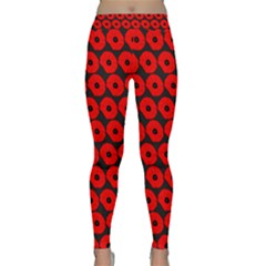 Charcoal And Red Peony Flower Pattern Yoga Leggings