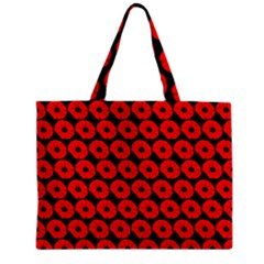 Charcoal And Red Peony Flower Pattern Zipper Tiny Tote Bags