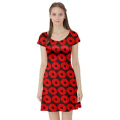 Charcoal And Red Peony Flower Pattern Short Sleeve Skater Dresses