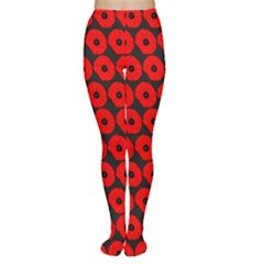 Charcoal And Red Peony Flower Pattern Women s Tights