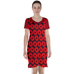Charcoal And Red Peony Flower Pattern Short Sleeve Nightdresses