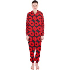 Charcoal And Red Peony Flower Pattern Hooded Jumpsuit (Ladies)