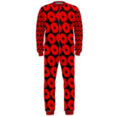 Charcoal And Red Peony Flower Pattern Onepiece Jumpsuit (men)