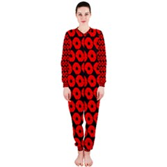 Charcoal And Red Peony Flower Pattern OnePiece Jumpsuit (Ladies)