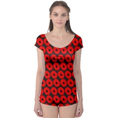 Charcoal And Red Peony Flower Pattern Short Sleeve Leotard